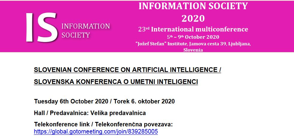 6. oktober 2020: znanstveni prispevek Andraža Levstka iz 4. C na Slovenski konferenci o umetni inteligenci 2020